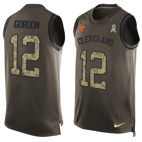 Men's Nike Cleveland Browns #12 Josh Gordon Limited Green Salute to Service Tank Top NFL Jersey