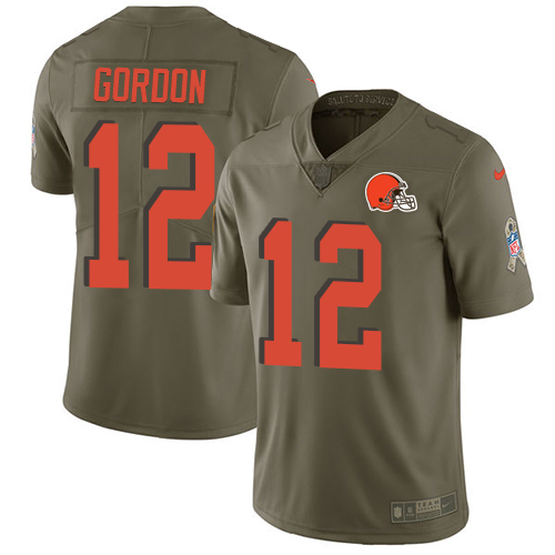 Men's Nike Cleveland Browns #12 Josh Gordon Limited Olive 2017 Salute to Service NFL Jersey