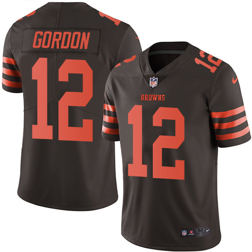 Men's Nike Cleveland Browns #12 Josh Gordon Elite Brown Rush Vapor Untouchable NFL Jersey