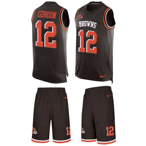 Men's Nike Cleveland Browns #12 Josh Gordon Limited Brown Tank Top Suit NFL Jersey
