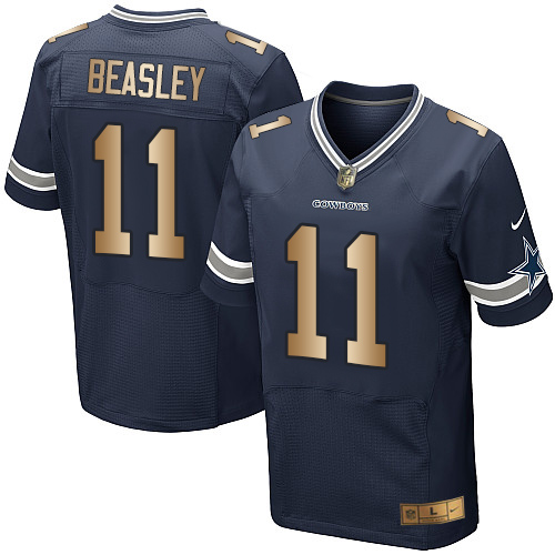 Men's Nike Dallas Cowboys #11 Cole Beasley Elite Navy/Gold Team Color NFL Jersey
