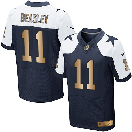 Men's Nike Dallas Cowboys #11 Cole Beasley Elite Navy/Gold Throwback Alternate NFL Jersey