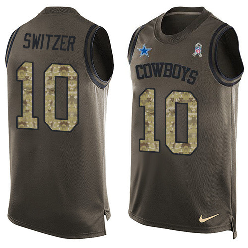 Men's Nike Dallas Cowboys #10 Ryan Switzer Limited Green Salute to Service Tank Top NFL Jersey