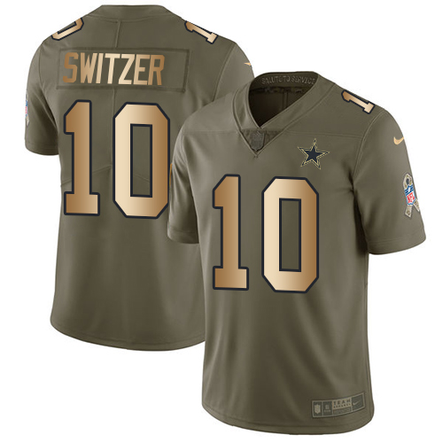 Men's Nike Dallas Cowboys #10 Ryan Switzer Limited Olive/Gold 2017 Salute to Service NFL Jersey