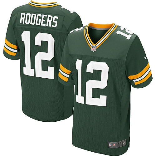 Men's Nike Green Bay Packers #12 Aaron Rodgers Elite Green Team Color NFL Jersey