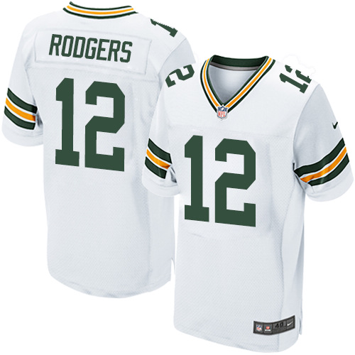 Men's Nike Green Bay Packers #12 Aaron Rodgers Elite White NFL Jersey