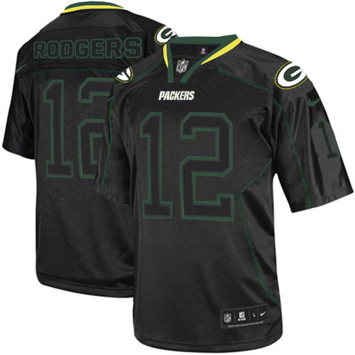 Men's Nike Green Bay Packers #12 Aaron Rodgers Elite Lights Out Black NFL Jersey