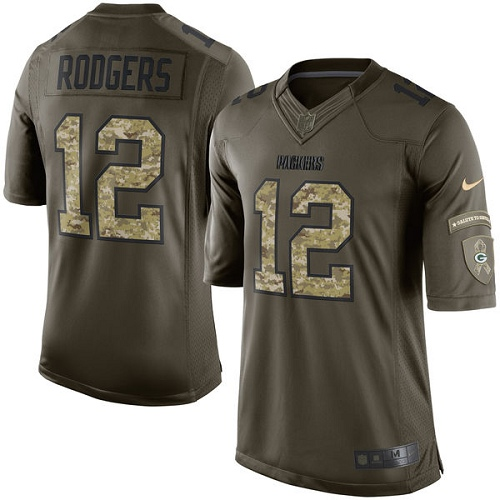 Men's Nike Green Bay Packers #12 Aaron Rodgers Limited Green Salute to Service NFL Jersey