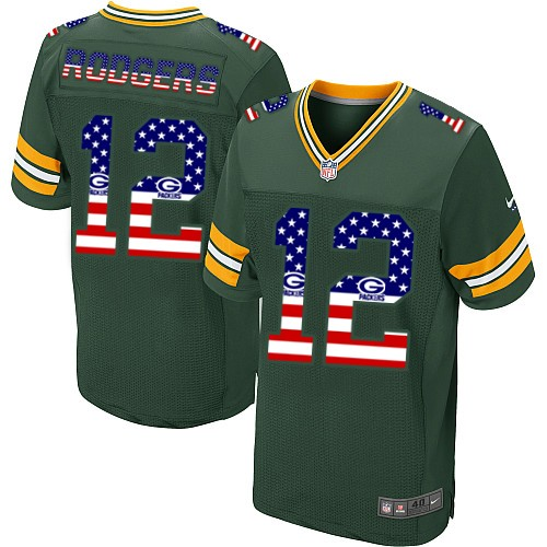 Men's Nike Green Bay Packers #12 Aaron Rodgers Elite Green USA Flag Fashion NFL Jersey