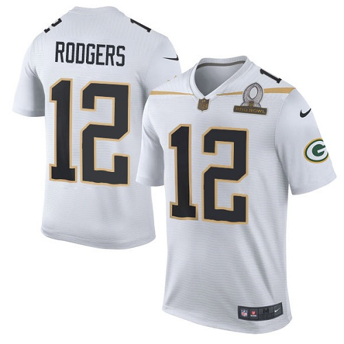 Men's Nike Green Bay Packers #12 Aaron Rodgers Elite White Team Rice 2016 Pro Bowl NFL Jersey