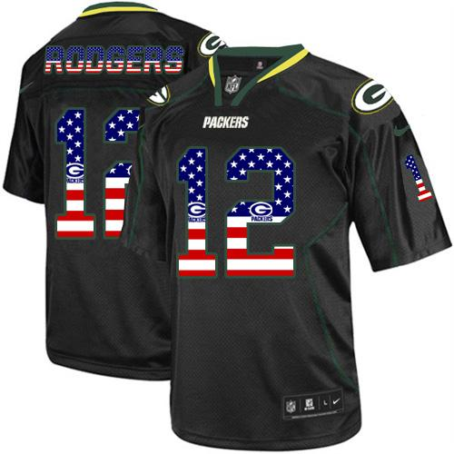 Men's Nike Green Bay Packers #12 Aaron Rodgers Elite Black USA Flag Fashion NFL Jersey