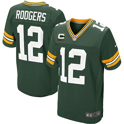 Men's Nike Green Bay Packers #12 Aaron Rodgers Elite Green Team Color C Patch NFL Jersey