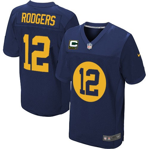 Men's Nike Green Bay Packers #12 Aaron Rodgers Elite Navy Blue Alternate C Patch NFL Jersey