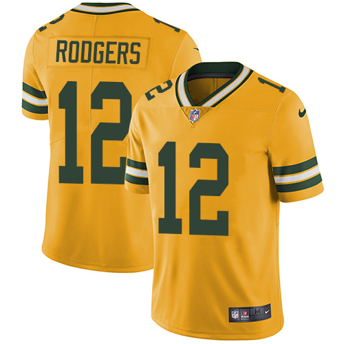 Men's Nike Green Bay Packers #12 Aaron Rodgers Limited Gold Rush Vapor Untouchable NFL Jersey