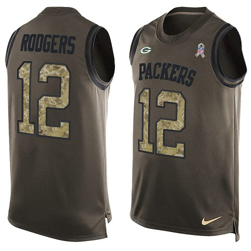 Men's Nike Green Bay Packers #12 Aaron Rodgers Limited Green Salute to Service Tank Top NFL Jersey