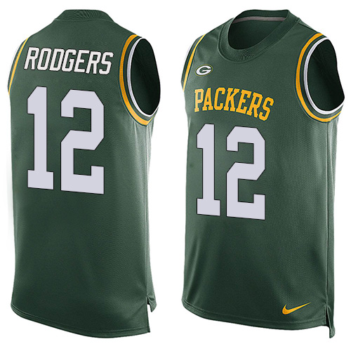 Men's Nike Green Bay Packers #12 Aaron Rodgers Limited Green Player Name & Number Tank Top NFL Jersey