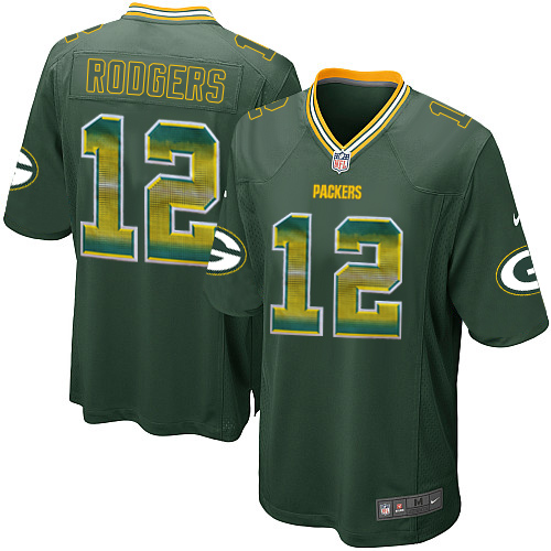 Men's Nike Green Bay Packers #12 Aaron Rodgers Limited Green Strobe NFL Jersey