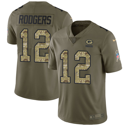 Men's Nike Green Bay Packers #12 Aaron Rodgers Limited Olive/Camo 2017 Salute to Service NFL Jersey