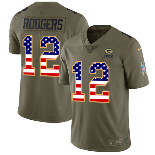 Men's Nike Green Bay Packers #12 Aaron Rodgers Limited Olive/USA Flag 2017 Salute to Service NFL Jersey
