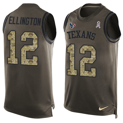 Men's Nike Houston Texans #12 Bruce Ellington Limited Green Salute to Service Tank Top NFL Jersey