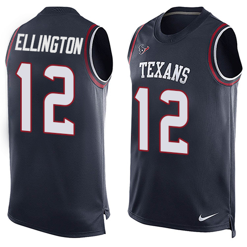 Men's Nike Houston Texans #12 Bruce Ellington Limited Navy Blue Player Name & Number Tank Top NFL Jersey