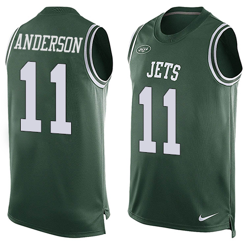 Men's Nike New York Jets #11 Robby Anderson Limited Green Player Name & Number Tank Top NFL Jersey