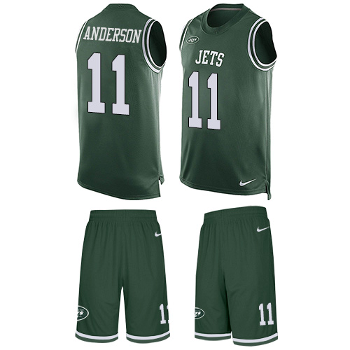 Men's Nike New York Jets #11 Robby Anderson Limited Green Tank Top Suit NFL Jersey