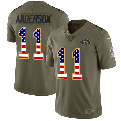 Men's Nike New York Jets #11 Robby Anderson Limited Olive/USA Flag 2017 Salute to Service NFL Jersey