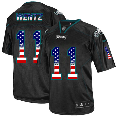 Men's Nike Philadelphia Eagles #11 Carson Wentz Elite Black USA Flag Fashion NFL Jersey