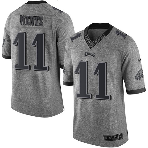 Men's Nike Philadelphia Eagles #11 Carson Wentz Elite Gray Gridiron NFL Jersey