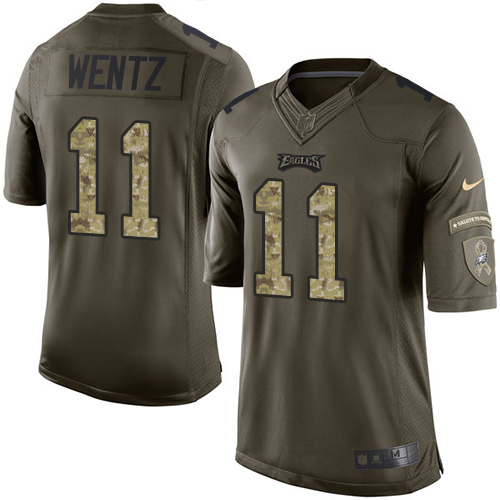 Men's Nike Philadelphia Eagles #11 Carson Wentz Elite Green Salute to Service NFL Jersey