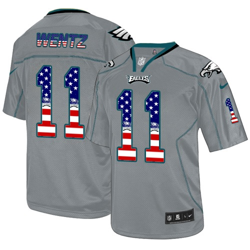 Men's Nike Philadelphia Eagles #11 Carson Wentz Elite Grey USA Flag Fashion NFL Jersey