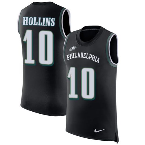 Men's Nike Philadelphia Eagles #10 Mack Hollins Black Rush Player Name & Number Tank Top NFL Jersey