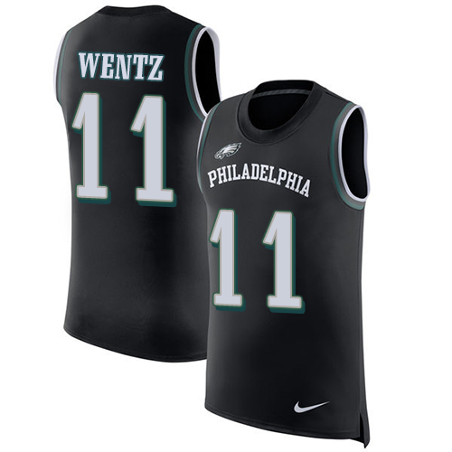 Men's Nike Philadelphia Eagles #11 Carson Wentz Black Rush Player Name & Number Tank Top NFL Jersey