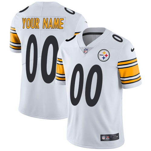 Men's Nike Pittsburgh Steelers Customized White Vapor Untouchable Custom Limited NFL Jersey