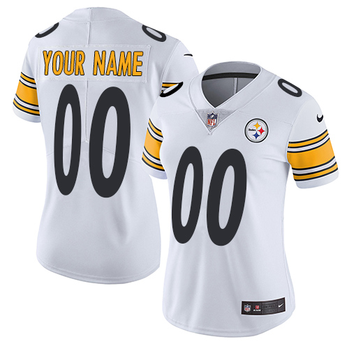 Women's Nike Pittsburgh Steelers Customized White Vapor Untouchable Custom Elite NFL Jersey