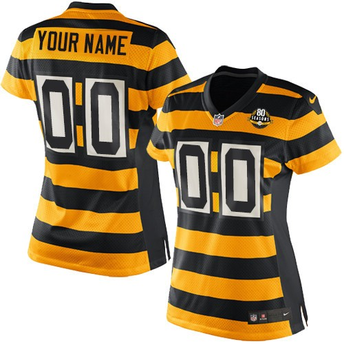 Women's Nike Pittsburgh Steelers Customized Elite Yellow/Black Alternate 80TH Anniversary Throwback NFL Jersey