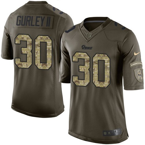 Men's Nike Los Angeles Rams #30 Todd Gurley Elite Green Salute to Service NFL Jersey