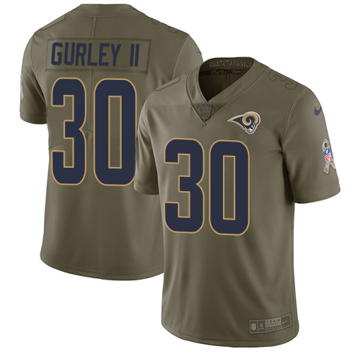 Men's Nike Los Angeles Rams #30 Todd Gurley Limited Olive 2017 Salute to Service NFL Jersey