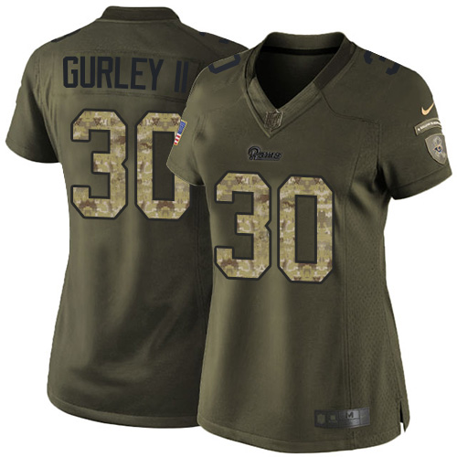 Women's Nike Los Angeles Rams #30 Todd Gurley Elite Green Salute to Service NFL Jersey