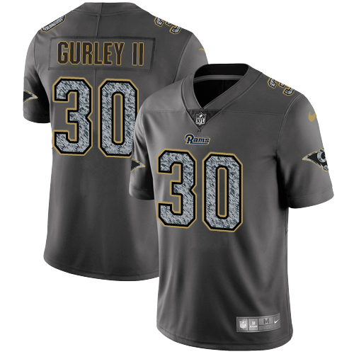 Men's Nike Los Angeles Rams #30 Todd Gurley Gray Static Vapor Untouchable Limited NFL Jersey