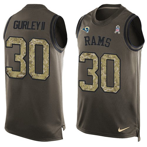 Men's Nike Los Angeles Rams #30 Todd Gurley Limited Green Salute to Service Tank Top NFL Jersey