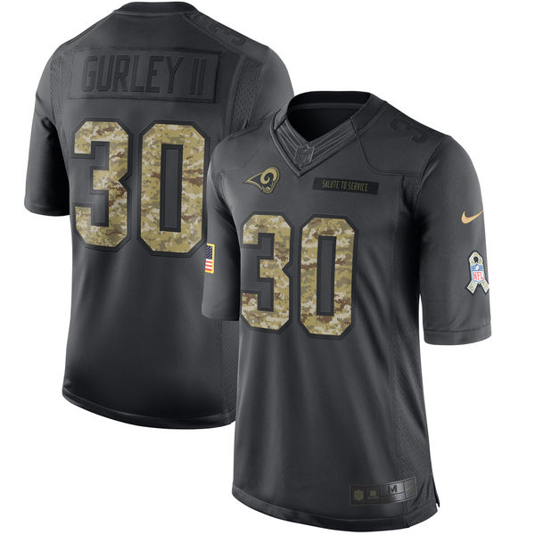Men's Nike Los Angeles Rams #30 Todd Gurley Limited Black 2016 Salute to Service NFL Jersey