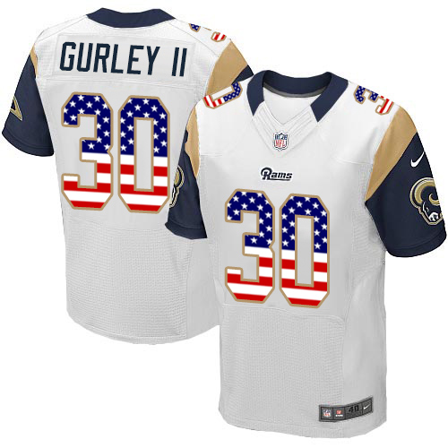 Men's Nike Los Angeles Rams #30 Todd Gurley Elite White Road USA Flag Fashion NFL Jersey