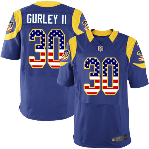 Men's Nike Los Angeles Rams #30 Todd Gurley Elite Royal Blue Alternate USA Flag Fashion NFL Jersey