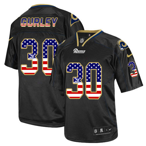 Men's Nike Los Angeles Rams #30 Todd Gurley Elite Black USA Flag Fashion NFL Jersey